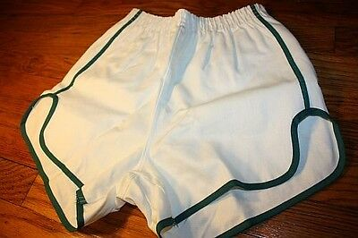 S ~ NOS vtg 70s sanforized SHORT SHORTS green * GYM jogging TRACK p.e. * WK6