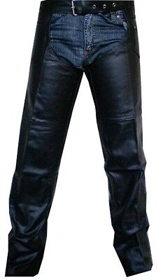 Unisex Mens Womens Leather Biker Motorcycle Chaps Braided New All Sizes