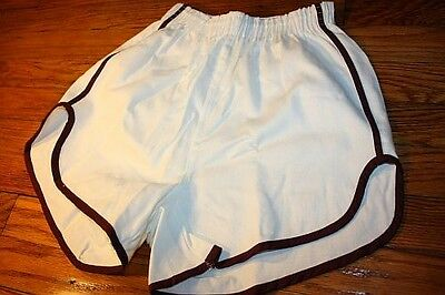 S ~ NOS vtg 80s sanforized SHORT SHORTS maroon * GYM jogging TRACK p.e. * WM5