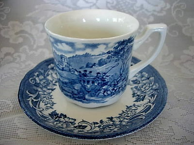 MEAKIN ROYAL STAFFORDSHIRE Blue Stratford Stage Cup/Mug & Saucer-Made in England