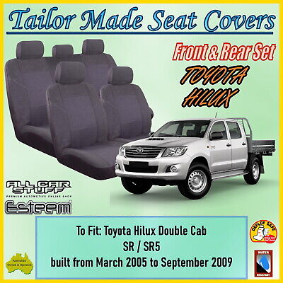 Tailor Made Grey Seat Covers for Toyota Hilux :SR5 Double Cab; 03/2005 - 09/2015
