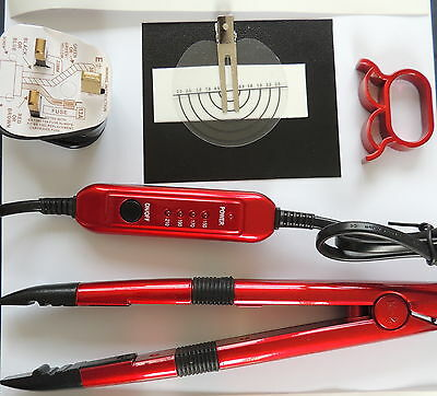 HOT FUSION HEAT CONNECTOR IRON KIT for bonds NAIL TIP U TIP HAIR & instructions