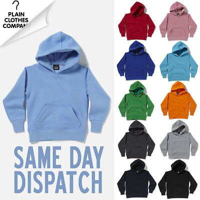 Plain Blank Hooded Sweatshirt Boys Girls Childrens Kids Hoody All Colours
