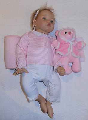 Baby Sleep Positioner - Adjustable - Pink Bear 26cm - Washable - Velvety - NEW
