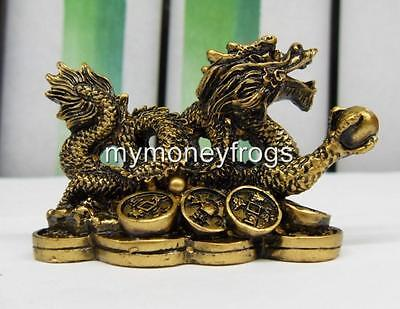 Brass Tone Oriental Chinese Lucky Dragon Year Feng Shui Protection Figurine #DG1