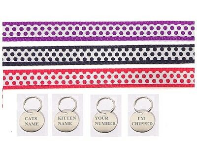 Rosewood Cat Collar Reflective Safety Buckle Bell Adjustable Optional Cat Tag