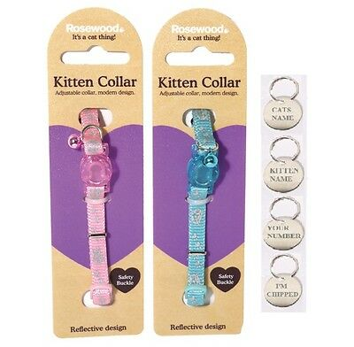 Kitten Collar Reflective Safety Buckle Bell, Adjustable, Optional Tag Engraving