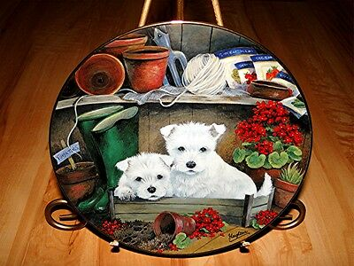 WESTIE FAMILY West Highland Terriers Dog PARTNERS IN GRIME Jamie Leighton Plate