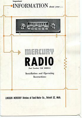 Vintage Mercury Car Radio Installation & Operating Instructions (Faf 18805-A)