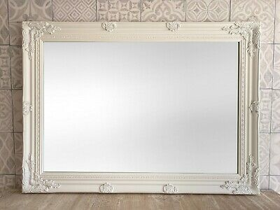 Large Ornate Overmantle Mirror - White Silver Black Cream Gold - All Sizes