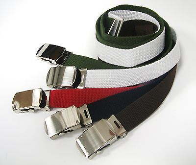 Kids canvas web toddler girls boys belts for school uniforms with silver buckle