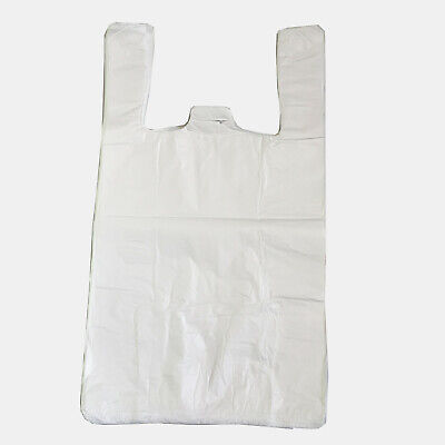 Vest Carrier Bags Small White  10'' x 15'' x 18''  T-Shirt  x 100