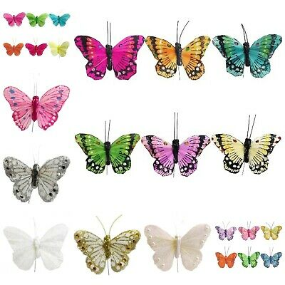 12 x Quality Feather Butterflies (2.75 inch) Assorted Colours Craft Art Wedding