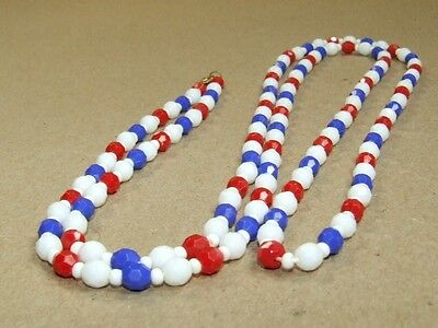Vintage Art Deco Faceted Milk Glass Red & Blue Lucite Beads Flapper Necklace 48""