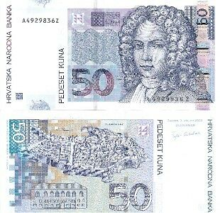 CROATIA 50 Kuna Banknote World Paper Money Currency p40 Europe Note 2002 Bill