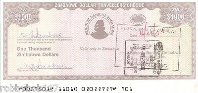 ZIMBABWE $1000 Travellers Cheque (Travelers Check) p15 Inflation Africa Currency