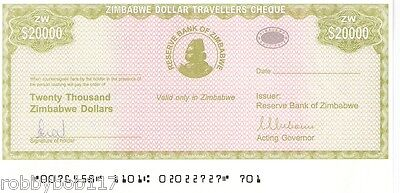 ZIMBABWE $20000 Travellers Cheque Travelers Check p18 UNC Africa Currency Money