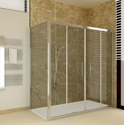 Double Walk In Chrome Sliding Shower Door Enclosure Side Panel Stone Tray P212