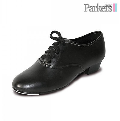 New Boys Mens Pu Oxford Black Tap Shoes With Fitted Toe Taps Sizes 7C - 11A Pbt