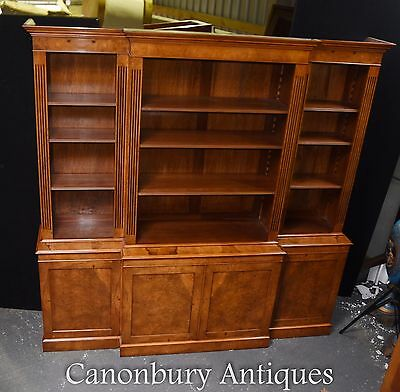 Walnut Regency Breakfront Bookcase Book Case XL Furniture