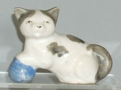 "Japan Miniature Vintage Cat Figurine with Blue Ball, 2"" tall,"