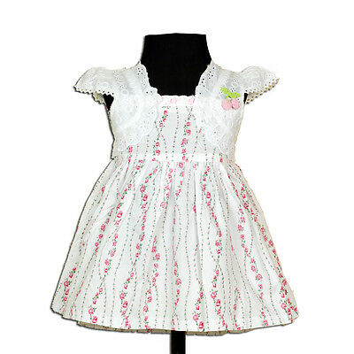 New Baby Girls Floral Cotton Party Dress in Pink,Lilac From 3-6 to 18-24  Months