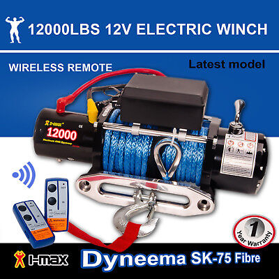 12V Electric Winch 12000LBS/5443KGS Wireless Synthetic Rope 4WD ATV BOAT TRUCK