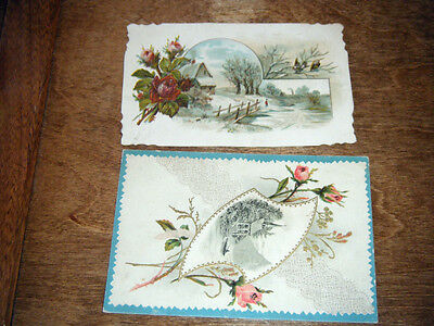 (2) Vintage 1800s Lion Coffee Woolson Spice Ohio Embossed Picture Trade Cards