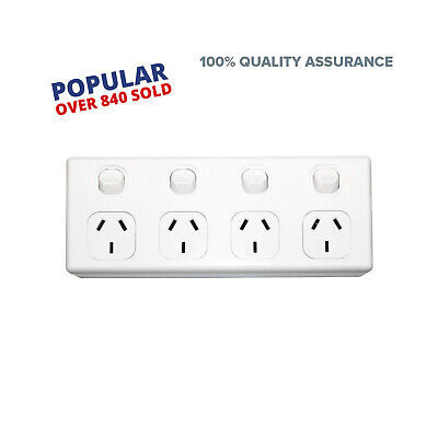 4 Gang GPO Power Point Quad Socket Outlet