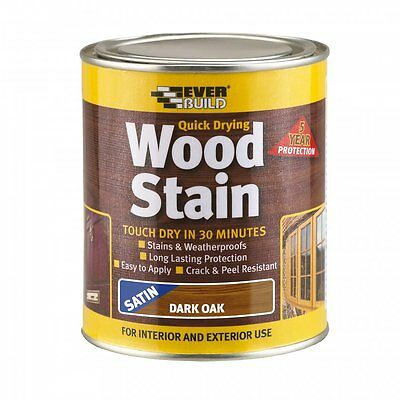 New Everbuild Quick Dry Wood Stain   7 Colours and 2 Sizes Available