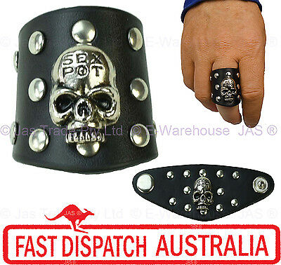1 Goth Gothic Hip Hop Party Leather Studded Skull Ring Black Wth Words Sex Pot