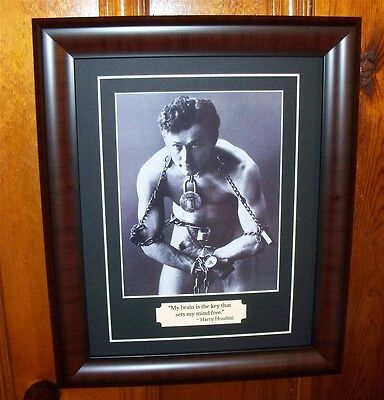 Harry Houdini Magician Greatest Escape Artist Photo & Quote Matted and Framed