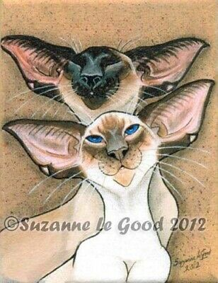 Large Ltd Edition Siamese Cat Print From Original Painting By Suzanne Le Good