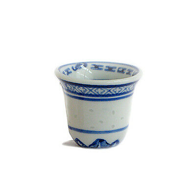 Chinese Blue & White Rice Pattern Ceramic Wine Cups - Set Of 4