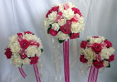 Wedding  Bouquet Package, Ivory & Fuchsia Roses