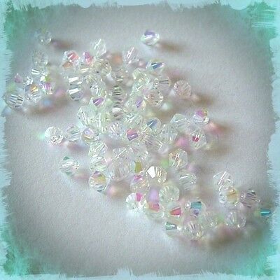 100 X 4Mm Crystal Ab Beads  Jewellery Making & Tiaras