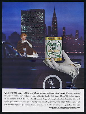 1958 New York United Nations Building Quaker State Motor Oil Vintage Print Ad