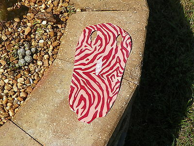 """NEW Stingray  Leather RED and PINK ZEBRA  13 1/2"""" X 6""""  SKIN HIDE PELT"""