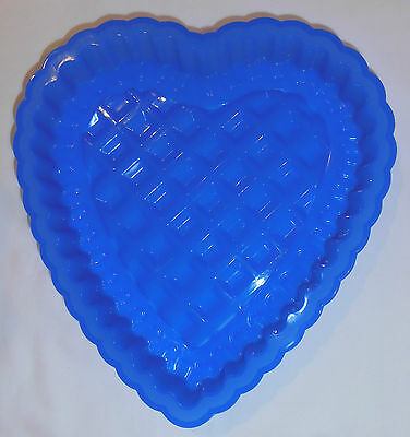 Silicone 23cm Baking Mould Blue - HEART SHAPE - Cakes & Jelly - Brand New