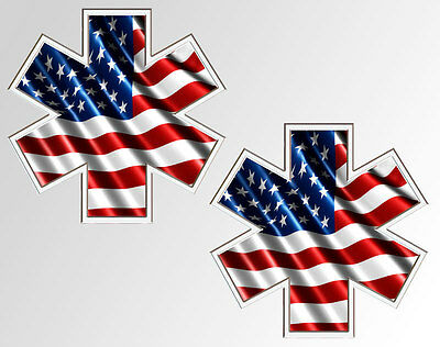 Star of Life American Flag EMS EMT Decal Sticker set of 2 decals each is 4 inch