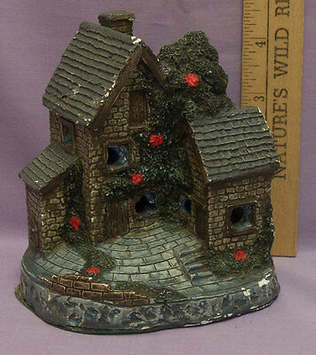 Ceramic Christmas Village House Lights Up by JSNY Cottage w/ Red Flowers