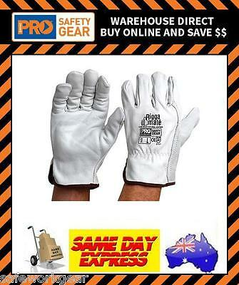 (Pack of 6)  Riggamate Riggers Leather Work Glove Safety Gloves Cow Grain