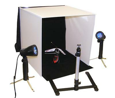 Portable Photo Lighting Studio with lights, camera tripod, 4 backgrounds & case!