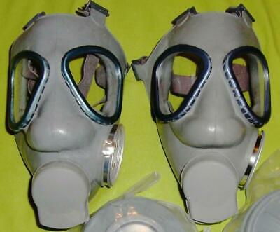 2 New M9 Style Military Gas Masks & two 60mm NBC Filters Finnish made 60 mm