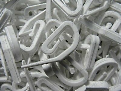 100 x CURTAIN HOOKS FOR CURTAINS WITH HEADER TAPE WHITE PLASTIC NYLON NEW