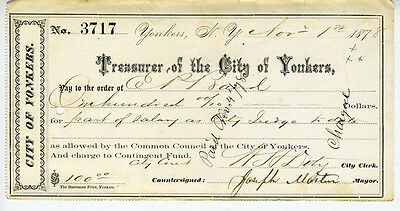 1878 Check from the Treasurer of the City of Yonkers New York