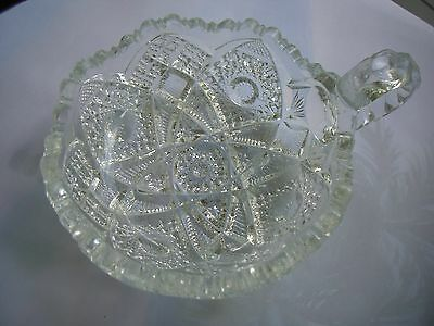 """EAPG Imperial Glass - Thonged Star Pattern Nappy - One Handle 5"""""""