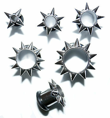Spiked Single Flare Ear Tunnel Surgical Steel Flesh Plug Lobe Stretcher  Gauge