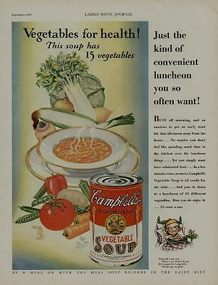 1929 CAMPBELL'S VEGETABLE SOUP AD / VEGETABLES FOR HEALTH !!!!