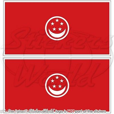 "SINGAPORE RED ENSIGN Merchant Flag Vinyl Bumper Stickers, Decals 3"" (75mm) x2"